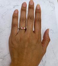 Load image into Gallery viewer, Edwardian 18K Gold Five Stone Ruby and Diamond Circa 1916 Band - alpha-omega-jewelry