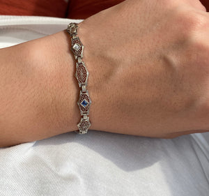 Art Deco Krementz Platinum and 14K Gold Diamond and Sapphire Filigree Bracelet