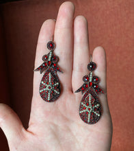 Load image into Gallery viewer, Large Antique Bohemian Garnet and Pearl Silver Drop Statement Earrings