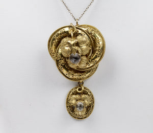 Victorian Etruscan Revival 14K Gold and Quartz Love Knot Brooch Pendant