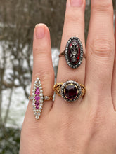 Load image into Gallery viewer, Victorian 1.26 Carat Diamond and Natural Ruby 14K Gold Navette Ring