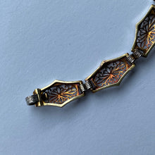 Load image into Gallery viewer, Art Deco Krementz Platinum and 14K Gold Diamond and Sapphire Filigree Bracelet