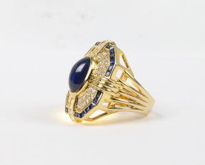 Vintage Sapphire and Diamond 18K Gold Rectangular Statement Cocktail Ring - alpha-omega-jewelry