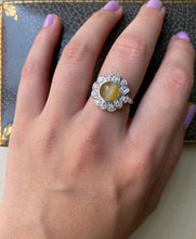 Load image into Gallery viewer, Art Deco Cat's Eye Chrysoberyl and Diamond Halo Platinum Ring