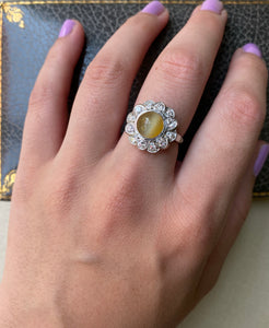 Art Deco Cat's Eye Chrysoberyl and Diamond Halo Platinum Ring