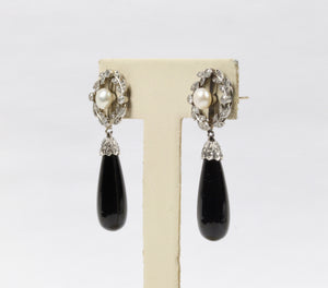 Edwardian Platinum and Diamond Wreath Motif Onyx Drop Antique Earrings - alpha-omega-jewelry