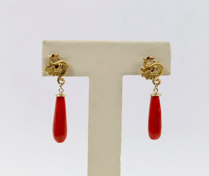 Vintage 14K Gold Dragon and Oxblood Coral Drop Earrings - alpha-omega-jewelry