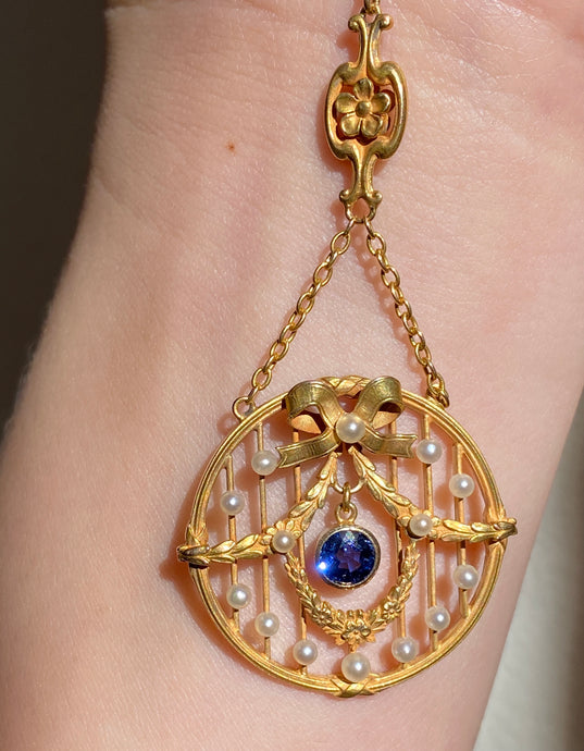 Art Nouveau Krementz 14K Gold Sapphire, Pearl Garland and Bow Lavalier Necklace