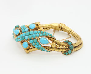 Victorian Natural Turquoise and 14K Gold Crossover Snake Bracelet