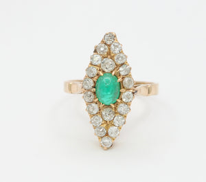 Edwardian Emerald and 1.46 Carat Diamond Navette 14K Gold Ring