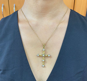 Victorian 18K Gold Natural Pearl and Diamond Cross Pendant