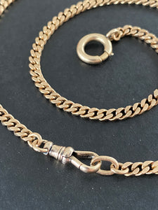 Art Deco 14K Gold 21 Inch Flat Curb Link Watch Chain, Necklace