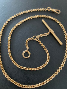 Antique 14K Gold 19 Inch Rolo Link Watch Chain, Necklace