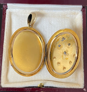 Large Victorian 18K Gold, Rose Cut Diamond and Pearl Locket, Pendant