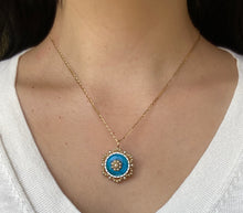 Load image into Gallery viewer, Edwardian Blue and White Enamel and Natural Pearl 14K Gold Pin Pendant