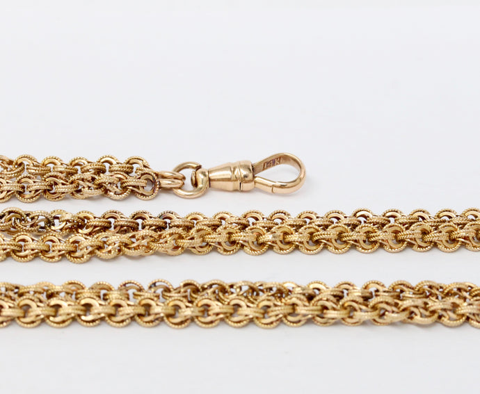 Antique 14K Gold Heavy 62 Inch Guard Chain Dog Clip Wrap Around Necklace - alpha-omega-jewelry