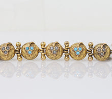 Load image into Gallery viewer, Victorian Turquoise and Split Pearl Clover 14K Gold Bracelet - alpha-omega-jewelry