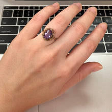 Load image into Gallery viewer, Vintage English 9K Gold and Amethyst Flower Ring