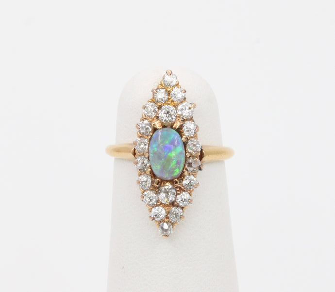 Edwardian Bailey Banks and Biddle Black Opal and Diamond Navette 14K Gold Ring - alpha-omega-jewelry