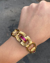 Load image into Gallery viewer, Art Deco 18K Gold and Man-Made Rubies Wide Open Link Statement Bracelet