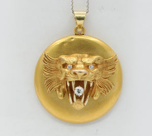 Large Victorian 14K Gold and Diamond Roaring Lion Locket Pendant