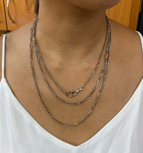 Victorian Niello 800 Silver and Rose Gold-Plated 60 Inch Chain Necklace