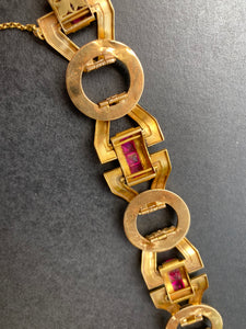 Art Deco 18K Gold and Man-Made Rubies Wide Open Link Statement Bracelet