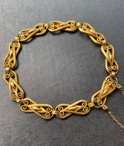 French Victorian 18K Gold Solid Open Link Filigree Bracelet