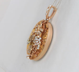 French Victorian 18K Gold and 1 Carat Diamond Pearl Grape Locket Pendant - alpha-omega-jewelry