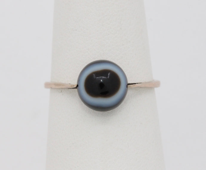 Victorian Banded Black Agate Eye 9K Gold Simple Antique Ring - alpha-omega-jewelry
