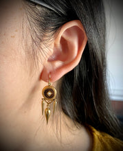 Load image into Gallery viewer, French Victorian 18K Gold, Striped Black Enamel, and Pearl Dangling Earrings