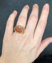 Load image into Gallery viewer, Vintage 18K Gold Agate Dragon Intaglio Ring