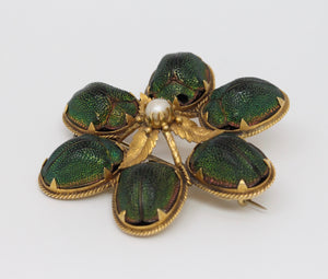Rare Victorian 14K Gold Real Scarab Novelty Brooch Pin - alpha-omega-jewelry