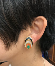Load image into Gallery viewer, Vintage 1970s Inlaid Malachite Coral Onyx and Mother of Pearl 18K Gold Clip Earrings - alpha-omega-jewelry