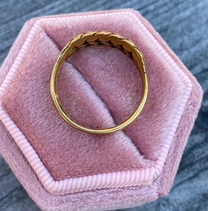 1960s English 18K Rose Gold Keeper Ring, Love Knot Band