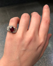 Load image into Gallery viewer, GIA Certified 1.8 Carat Ruby and 1.5 Carat Diamond 18K Gold Cocktail Dinner Ring