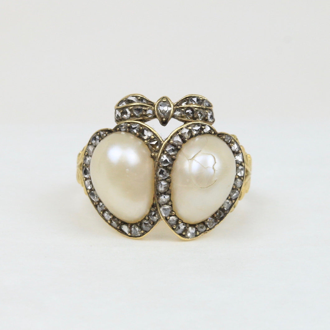 Victorian Natural Pearl and Diamond 18K Gold Double Heart and Bow Ring - alpha-omega-jewelry