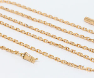 Solid Austrian Cable Link 18K Gold 36 Inch Long Heavy Necklace Chain - alpha-omega-jewelry