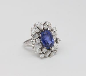 Rare 7.8 Carat GIA Certified No Heat Color Change Sapphire and Diamond 14K Gold Cocktail Ring - alpha-omega-jewelry