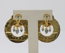 Load image into Gallery viewer, Large Vintage 14K Gold Diamond and Sapphire Statement Doorknocker Earrings - alpha-omega-jewelry