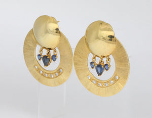 Large Vintage 14K Gold Diamond and Sapphire Statement Doorknocker Earrings - alpha-omega-jewelry