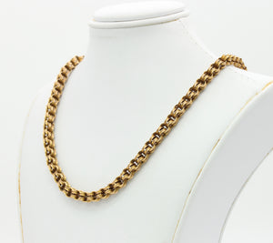Victorian 14K Gold Open Fancy Link Split Ring Chain Necklace