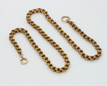 Load image into Gallery viewer, Victorian 14K Gold Open Fancy Link Split Ring Chain Necklace