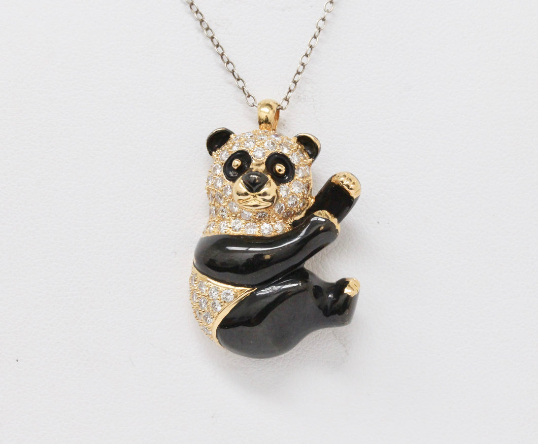Vintage 18K Gold and Diamond Enamel Panda Pin and Pendant - alpha-omega-jewelry