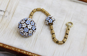 Antique Blue and White Enamel Flower Orb 14K Gold Watch Fob Charm - alpha-omega-jewelry