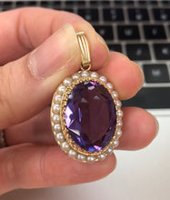 Load image into Gallery viewer, Vintage 14K Gold Man-Made Alexandrite and Pearl Surround 14K Gold Pendant
