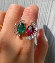 Load image into Gallery viewer, Statement Emerald, Rubellite, and Rose Cut Diamond 18K Gold Fan-Shaped Ring