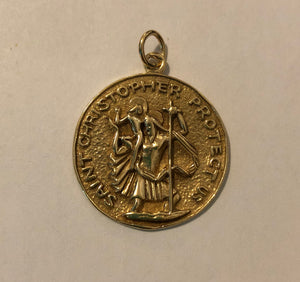 Large Vintage 14K Gold St. Chrisopher Protect Us Medallion Pendant