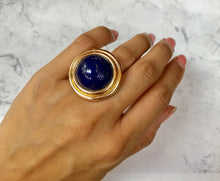 Load image into Gallery viewer, Victorian 18K Gold and Large Lapis Lazuli Statement Ring - alpha-omega-jewelry