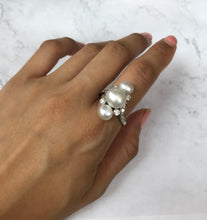 Load image into Gallery viewer, Antique GIA Certified Natural Saltwater Pearl and Diamond Platinum Ring - alpha-omega-jewelry